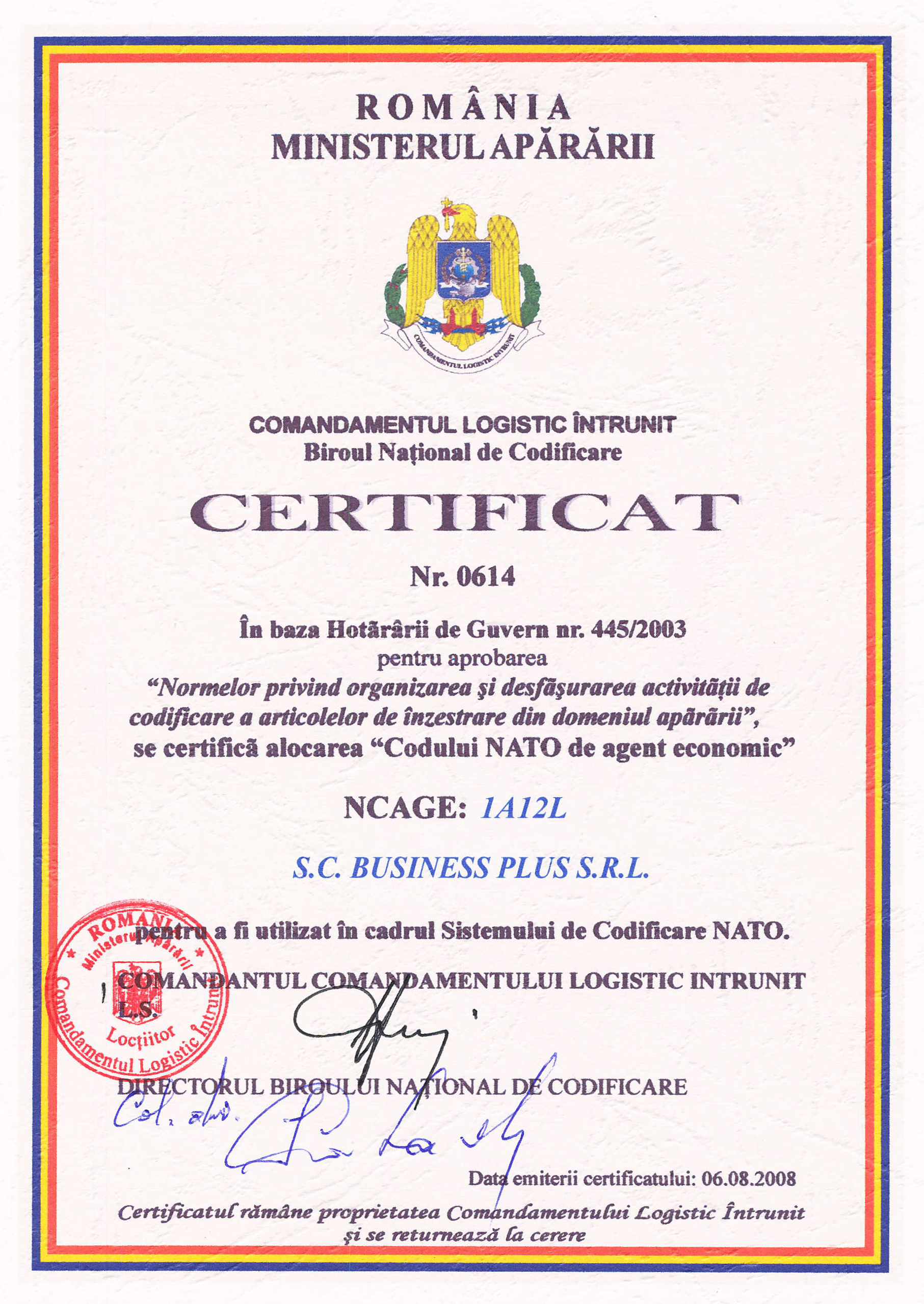 Certification On Business Plus Safety Security Logistics Solutions